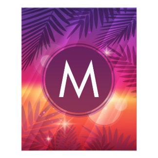 Summer Sunset Palm Trees Monogram Purple Orange Flyer