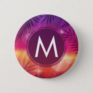 Summer Sunset Palm Trees Monogram Purple Orange Pinback Button