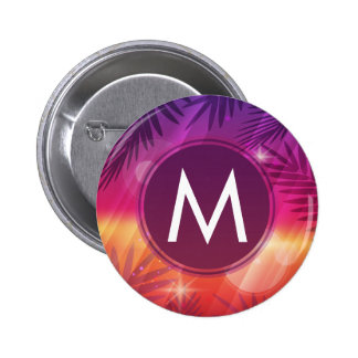 Summer Sunset Palm Trees Monogram Purple Orange Pinback Button