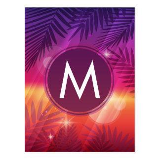 Summer Sunset Palm Trees Monogram Purple Orange Postcard