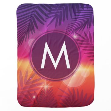 Beach Themed Summer Sunset Palm Trees Monogram Purple Orange Swaddle Blanket