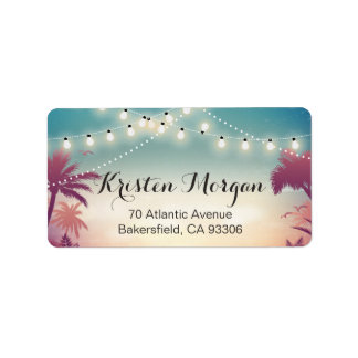 Summer Sunset Palm Tress String Lights Label