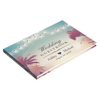 Summer Sunset Palm Tress String Lights Wedding Guest Book