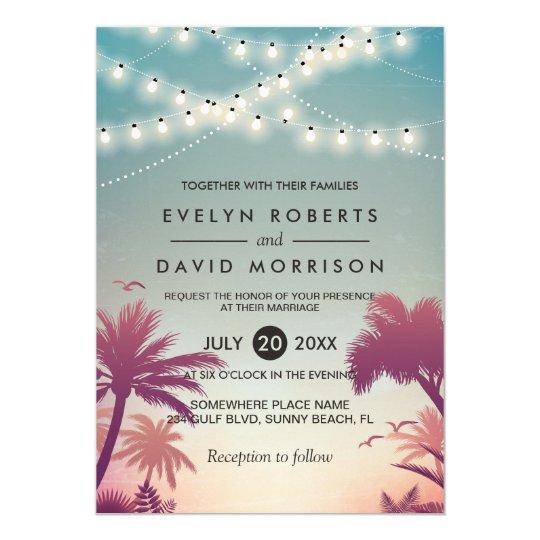 Summer Sunset Palms String Lights Outdoor Wedding Invitation