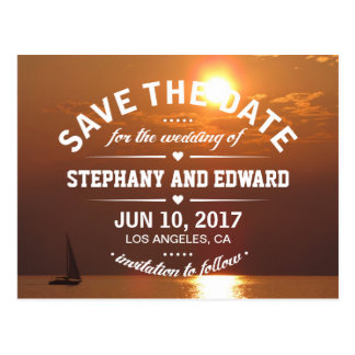 Summer Sunset Sailing Boat Save the Date Postcard