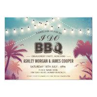 Summer Sunset String Lights I DO BBQ Engagement Card