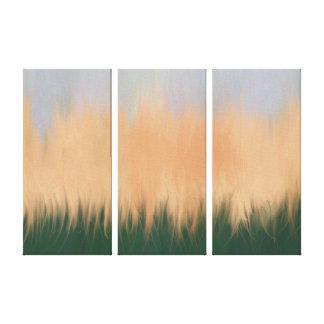 Summer Sunset Three Panel Painting Canvas Print