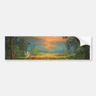 Summer Sunset with Blue Heron Bumper Sticker