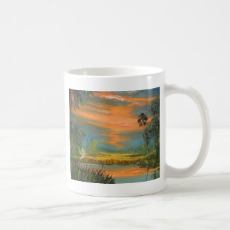 Summer Sunset with Blue Heron Coffee Mug