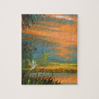 Summer Sunset with Blue Heron Puzzles