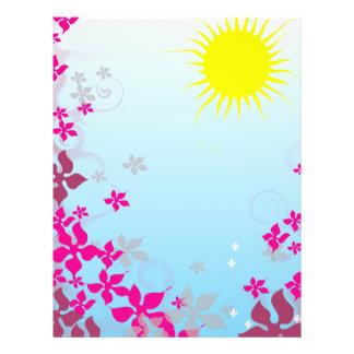 summer sunshine and fuschia flowers flyers