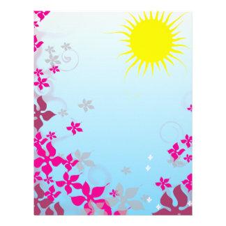 summer sunshine and fuschia flowers letterhead