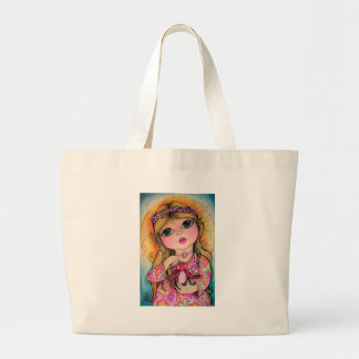 Summer Sunshine Big Eye Art - Tweets Large Tote Bag