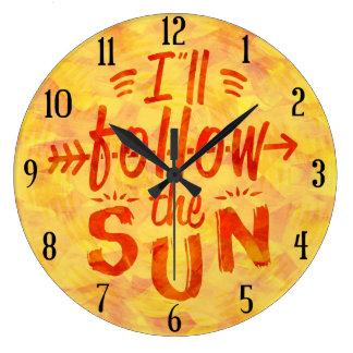 Summer Sunshine Painted Orange Follow Sun Beach Large Clock