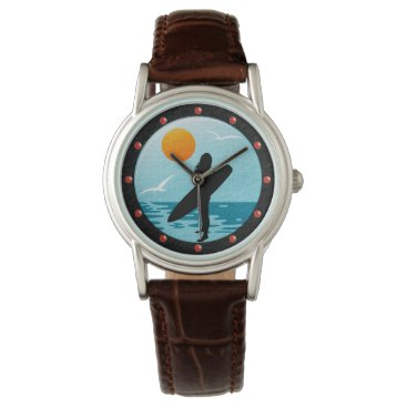 Beach Themed Summer Surf Beach Classic Brown Leather Watches