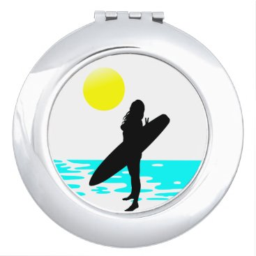 all_summer_products Summer Surf Beach Round Compact Mirror