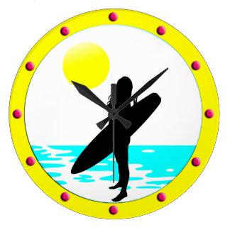 Summer Surf Beach Round Wall Clock