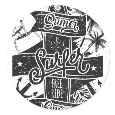 Beach Themed Summer surf enjoy classic round sticker