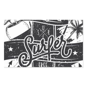 Beach Themed Summer surf enjoy rectangular sticker