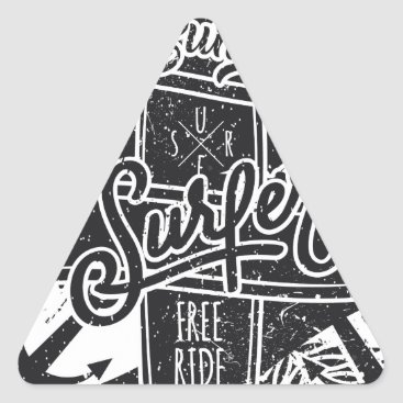 Beach Themed Summer surf enjoy triangle sticker