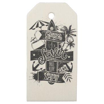 Beach Themed Summer surf enjoy wooden gift tags