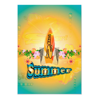 "Summer, surfboard with flowers 5"" x 7"" invitation card"