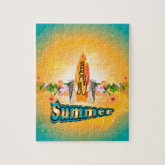 Summer, surfboard with flowers puzzles