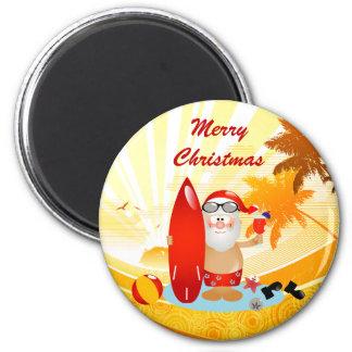 Summer Surfing Santa 2 Inch Round Magnet