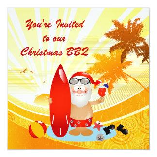 Summer Surfing Santa Card