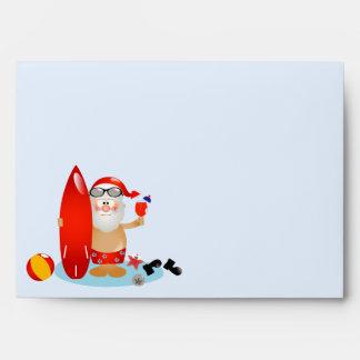 Summer Surfing Santa Envelope