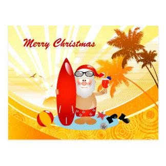 Summer Surfing Santa Postcard