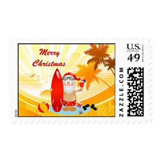 Summer Surfing Santa Stamp