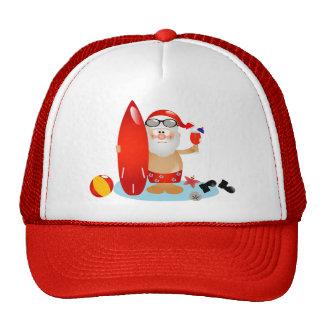 Summer Surfing Santa Trucker Hat