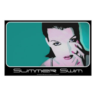 Summer Swim painting on a Poster