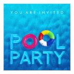 """Summer Swimming Pool Party invitation 5.25"""" Square Invitation Card"""