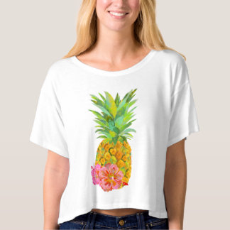 Summer symbol pineapple and hibiscus t-shirt