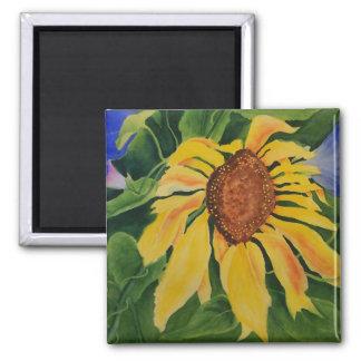 Summer Tango Sunflower 2 Inch Square Magnet