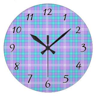 Summer Tartan Plaid Large Clock