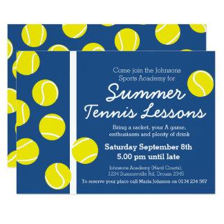 Summer tennis lesson event invites blue & white