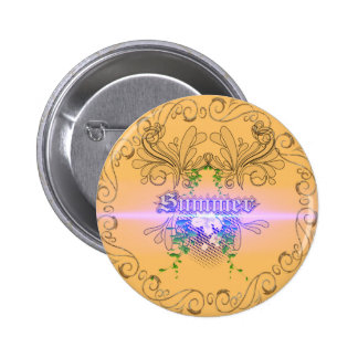 Summer the word with flowers and leaves 2 inch round button