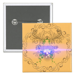 Summer the word with flowers and leaves 2 inch square button