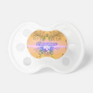 Summer the word with flowers and leaves BooginHead pacifier