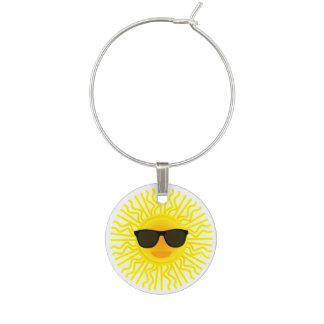 Summer Theme Sunny Beach Sun Face with Sunglasses Wine Glass Charm