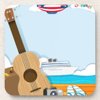 Summer theme with cruise and travel objects beverage coaster