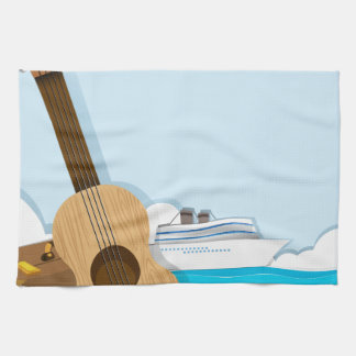 Summer theme with cruise and travel objects hand towel
