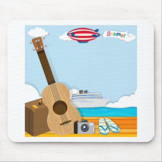 Summer theme with cruise and travel objects mouse pad