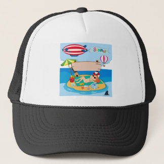 Summer theme with girl on island trucker hat