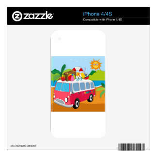 Summer theme with luggages on van decal for the iPhone 4
