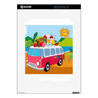 Summer theme with luggages on van iPad 2 decal