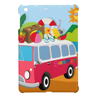 Summer theme with luggages on van iPad mini cases